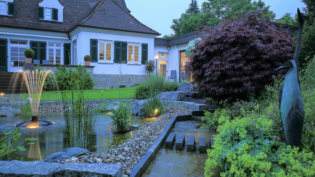 Abendstimmung Gartenanlage Dämmerung Detail